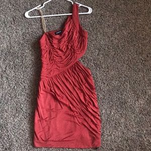 Bebe Coral dress with Chain sleeve